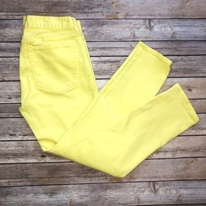 J Crew Factory Neon Yellow Toothpick Ankle Jeans